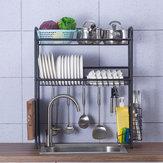 Scaffale a doppio strato, supporto in acciaio inox, lavello in acciaio, scolapiatti, cucina, posate, asciugatrice, scolapiatti, cucina