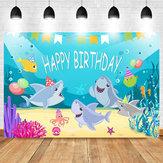 Decorazioni del partito del fondo del mare dell'oceano di compleanno del partito della doccia di bambino dello sfondo di fotografia dello squalo
