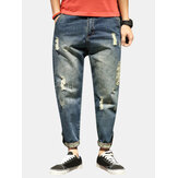 Mens Stylish Haren Pants Loose Holes Ripped Jeans