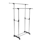 Adjustable Stainless Steel Rolling Rail Movement Cloth Storage Drying Rack Double Bar Hanger Garment