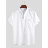 Men 100% Cotton Stand Collar Fresh Casual Plain Loose Short Sleeve Henley Shirts