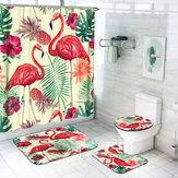 1/3/4 Adet Flamingo Su Geçirmez Duş Perdesi Tuvalet Kapağı Mat Banyo Set Kaymaz Halı Kit