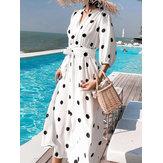 Богемия в горошек с принтом Лето Пляжный Длинные макси Платье