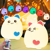 RGB Cat Silicone LED Touch Sensor Light Cute Cartoon Night Lamp Crianças Quarto