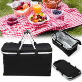 30L Large Folding Picnic Camping Insulated Cooler Hamper Storage Basket Bag