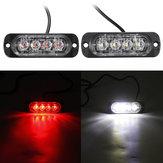12W 4 LED Flash Luce stroboscopica Emergenza lampada Rosso / Bianco 12 / 24V Per Auto Camion Moto
