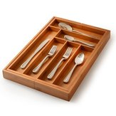 8 Grid Bamboo Kitchen Drawer Organizer Silverware Storage Container Box and Cutlery Tray