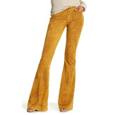 Women Solid Color High Waist Corduroy Bell-Bottom Pants