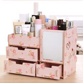 Desktop Storage Case Wooden Cosmetic Drawer Makeup Organizer Makeup Storage Box Container for Home Office