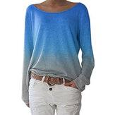 Degrade Renk Kazak O Boyun Uzun Kollu Casual Bluz