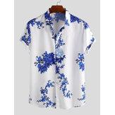 メンズ中国風磁器花柄プリント半袖折り襟カジュアルシャツ