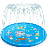 100CM Outdoor Inflatable Water Splash Play Pool Playing Sprinkler Mat Yard Family Funny Kids Toys