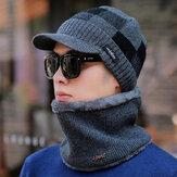 Lã dos homens Chapéu Earmuffs quentes Plus Lenço de malha espessante Chapéu