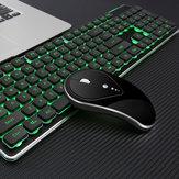 LT600 104Keys 2.4G Sem Fio Recarregável À Prova D 'Água Luminoso Teclado Ergonômico para Jogos e Mouse Sem Fio para Jogos PC Laptop