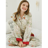 Glossy Satin Plant Printed Button-Down Long Sleeve Pajamas