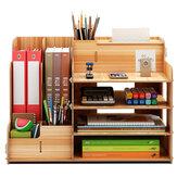 B07-L Drewniany schowek na biurko Wielowarstwowe półki do przechowywania teczek na książki półka półka na długopisy długopisy organizer