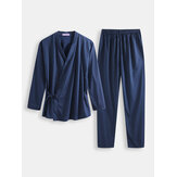 Men Polka Dot Kimono Robe Set Thin Loose Breathable Home Casual Loungewear Pajama Set
