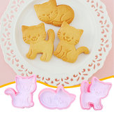 3 Stks / set Kat Cookie Biscuit Plunger Cutter Fondant Cakevorm Bakvorm Keukengereedschap