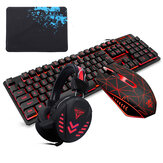 104Key Waterproof design USB Wired Multimedia RGB Backlit Mechanical Gaming Keyboard and LED Gaming Headphone and 3200DPI LED Gaming Mouse Sets with Mouse Pad