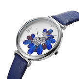SHENGKE SK K0123 Leaves Pattern Crystal Flowers Quartz Watch