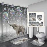 3D tiskové bubliny slon vodotěsný koupelna sprchový závěs záclony toaletní rohož protiskluzná podlahová rohož kobereček