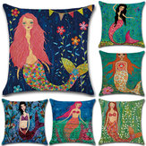 Mermaid Printed Cotton Linen Cushion Cover Square Home Decor Soft Comfortable Pillow Case