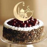Eid Mubarak Feliz Ramadan Topper do bolo Inserção Islâmico islâmico Brilho Hajj Decoração Ferramentas de decoração de bolos Kuchendeckel Gateau Kage Decorações