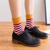 Women High Cuff Mouth Striped Wool Socks
