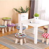 Solid Wooden Round Stool Mini Chair for Home Living Room Bedroom with Removeable Cover
