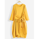 Women Waist Bow Irregular Hem Bell Sleeve Casual Dress