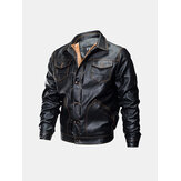 Giacca da moto in pelle casual addensata
