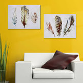 2Pcs Watercolour Feather Canvas Print Paintings Pretty Wall Art Picture Home Gift