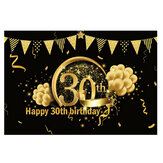 5x7FT Vinyl 30/40/50/60/70 Happy Birthday Gold Balloon Photography Backdrop Background Studio Prop