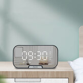Digital Mirror Alarm Clock bluetooth Speaker with TF Card Slot FM Radio Phone Stand Full Screen LED Mirror Table Clock Time Date Temperature Display Home Decorations