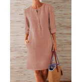 Women Pure Color O-Neck Side Pockets Long Sleeve Dress