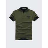 Herre Solid Color Bomuld Golf Shirt