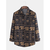 Mens Ethnic Animal Printing Plus Size Long Sleeve Shirts