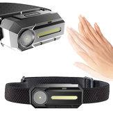 YUANTOOSE 650 Lumen XPE + COB LED Lampada frontale sensore di induzione USB 45 ° regolabile 3 modalità torcia campeggio Ciclismo di caccia