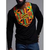 Pánská africká květinová košile Dashiki s dlouhým rukávem a výstřihem do V s dlouhým rukávem