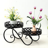 Wrought Iron Flower Pot High and Low Layer Living Room Balcony Floor Plant Stand