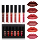6PC / Set Brillo labial Lápiz labial Mate Impermeable Nud de larga duración