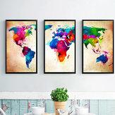 Miico Ręcznie malowane trzy kombinowane obrazy dekoracyjne Colorful Mapa świata do dekoracji wnętrz