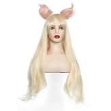 Cosplay Wig Long Straight Blonde Gold Hair Ears Women Anime Wigs