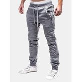 Elastic Waist Double Zipper Sport Pants