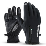 Gants à écran tactile sports de sports d'hiver hivernaux thermiques ski mitaines chaudes cuir PU noir