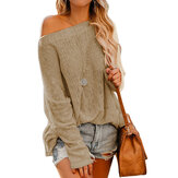 Off Shoulder Long Sleeve Blouse Casual Pullover Knit Sweater