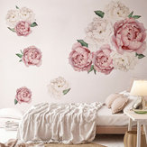 Rosas Peonía Floral Etiqueta de la pared Calcomanías de papel Blush Rosa y flores blancas Pegatinas de pared autoadhesivas Mural de pared