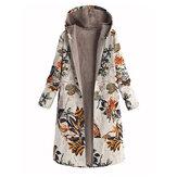 Abrigos largos de lana con capucha y manga larga con estampado de hojas