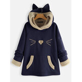Original              Ears Hooded Fleece Patchwork Cartoon Print Sweatshirt