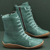 Old Fashion Pure Color Leder Wadenmitte Stiefel